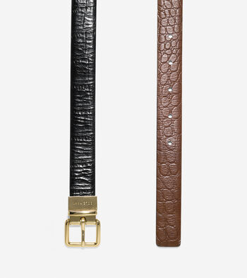 Reversible Croc Leather Belt