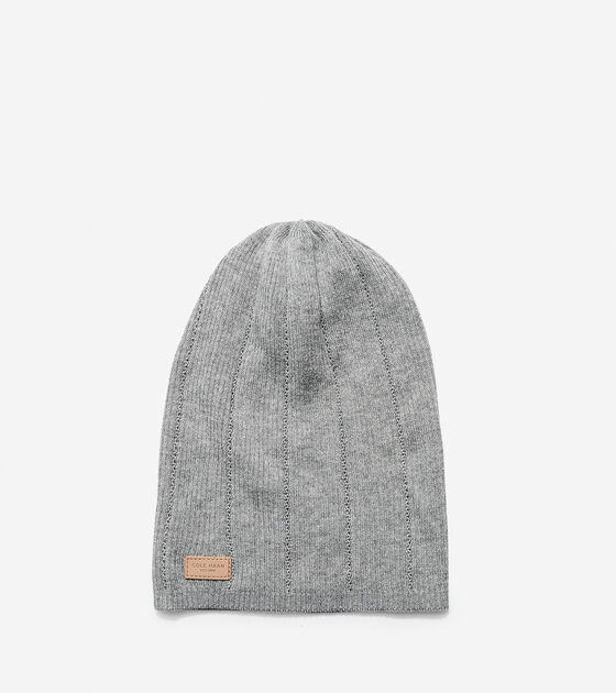 Accessories > Cashmere Blend Rib Pointelle Slouchy Beanie