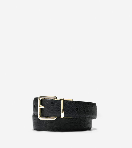 Bags & Outerwear > Reversible Saffiano/Patent Leather Belt