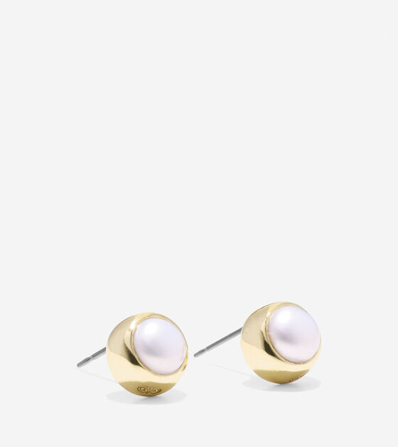 To The Moon Round Fresh Water Pearl Stud Earrings
