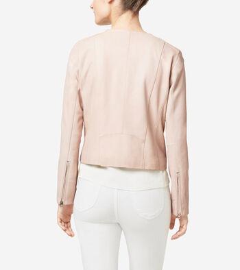 Italian Leather Asymmetrical Collarless Jacket