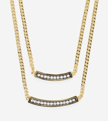 Double Pave Swarovski Bar Necklace