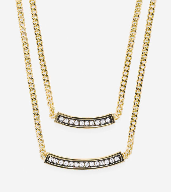 Bags & Outerwear > Double Pave Swarovski Bar Necklace