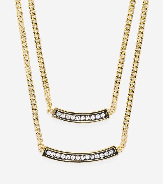 Jewelry > Double Pave Swarovski Bar Necklace