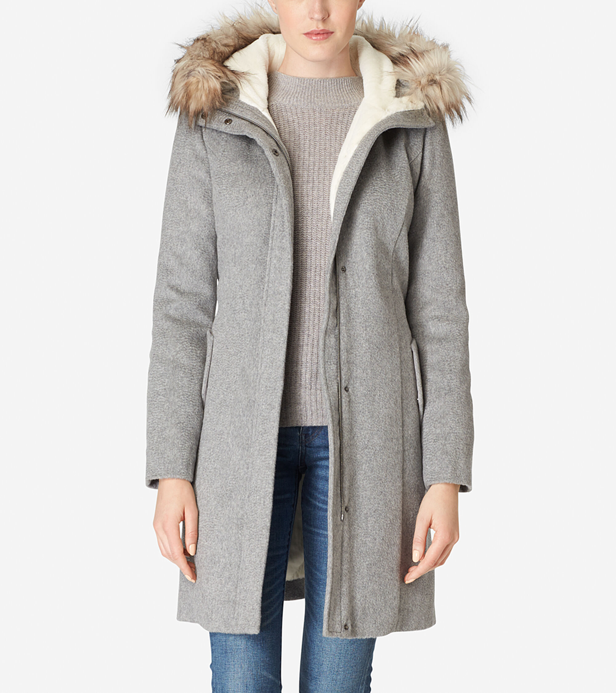 Outerwear > Striccato Wool Hooded Parka