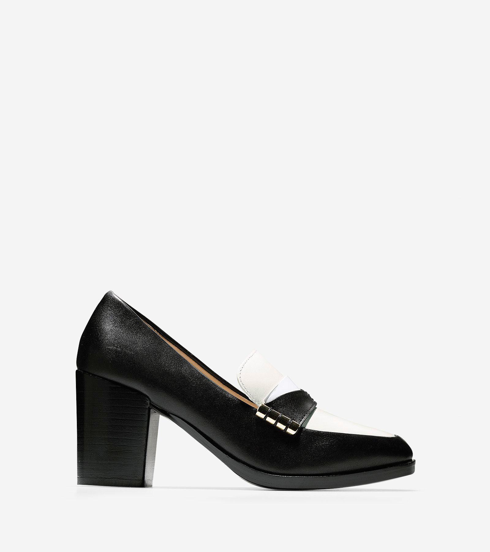 Black Leather Kitten Heel Shoes