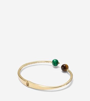 Spring Street Fashion Semi-Precious Stone Hinge Chain Bangle Bracelet