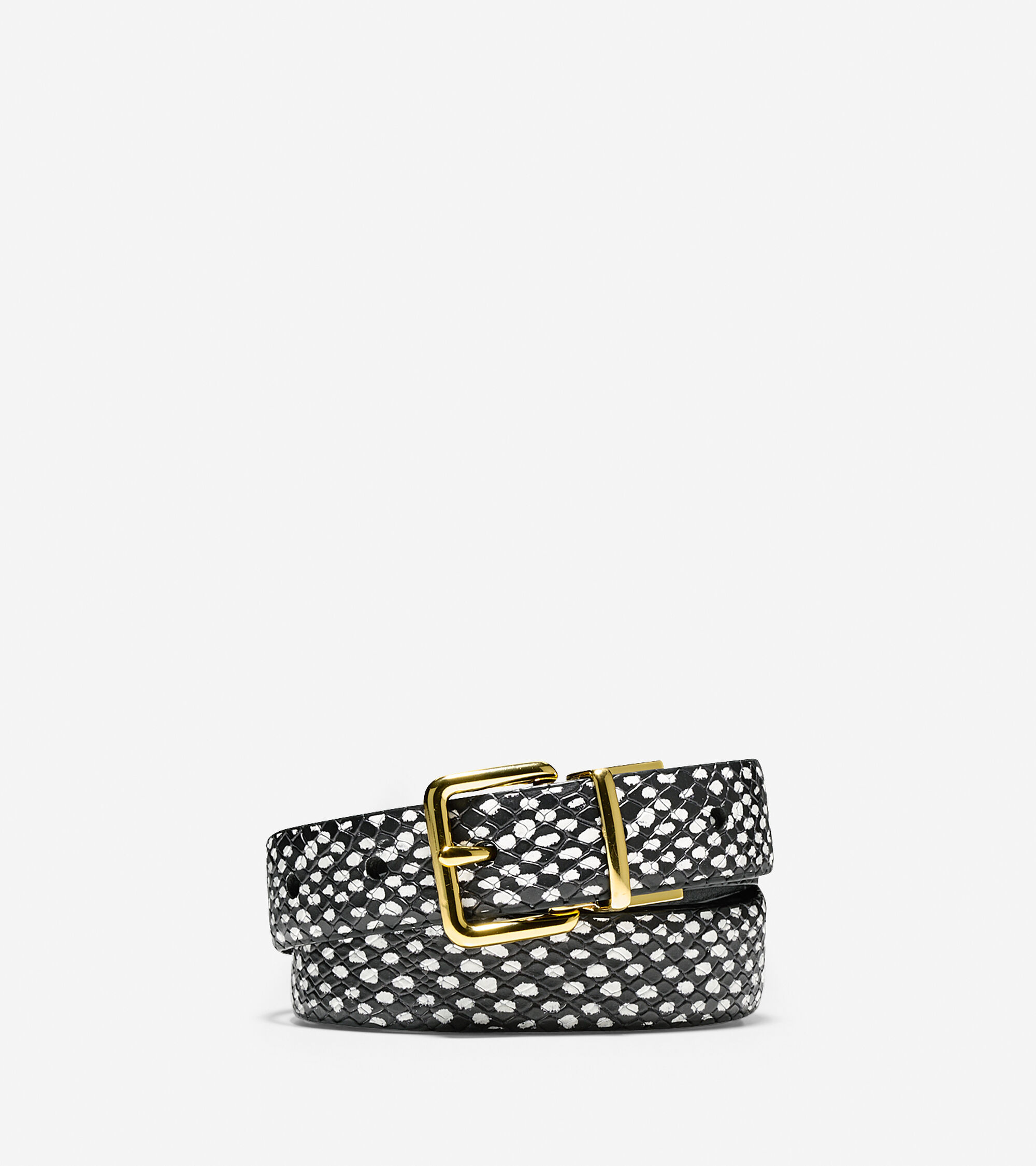 Accessories > Snake Print Leather Belt