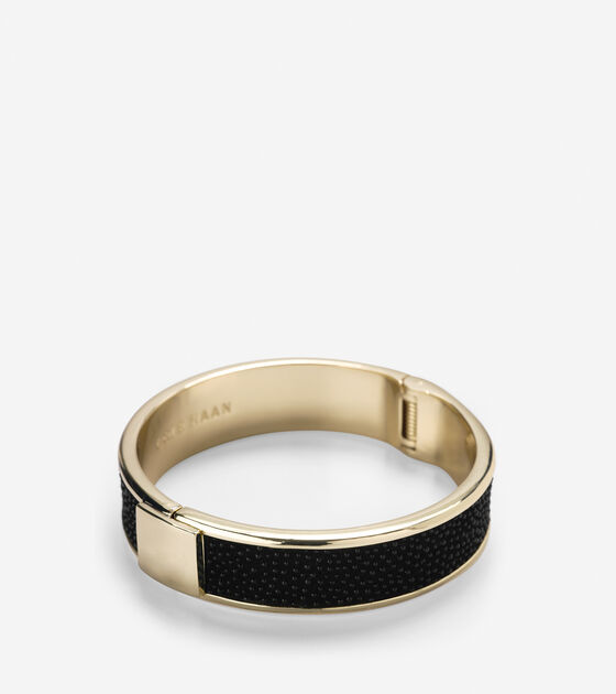 Accessories > Wide Hinged Leather Inlay Bangle
