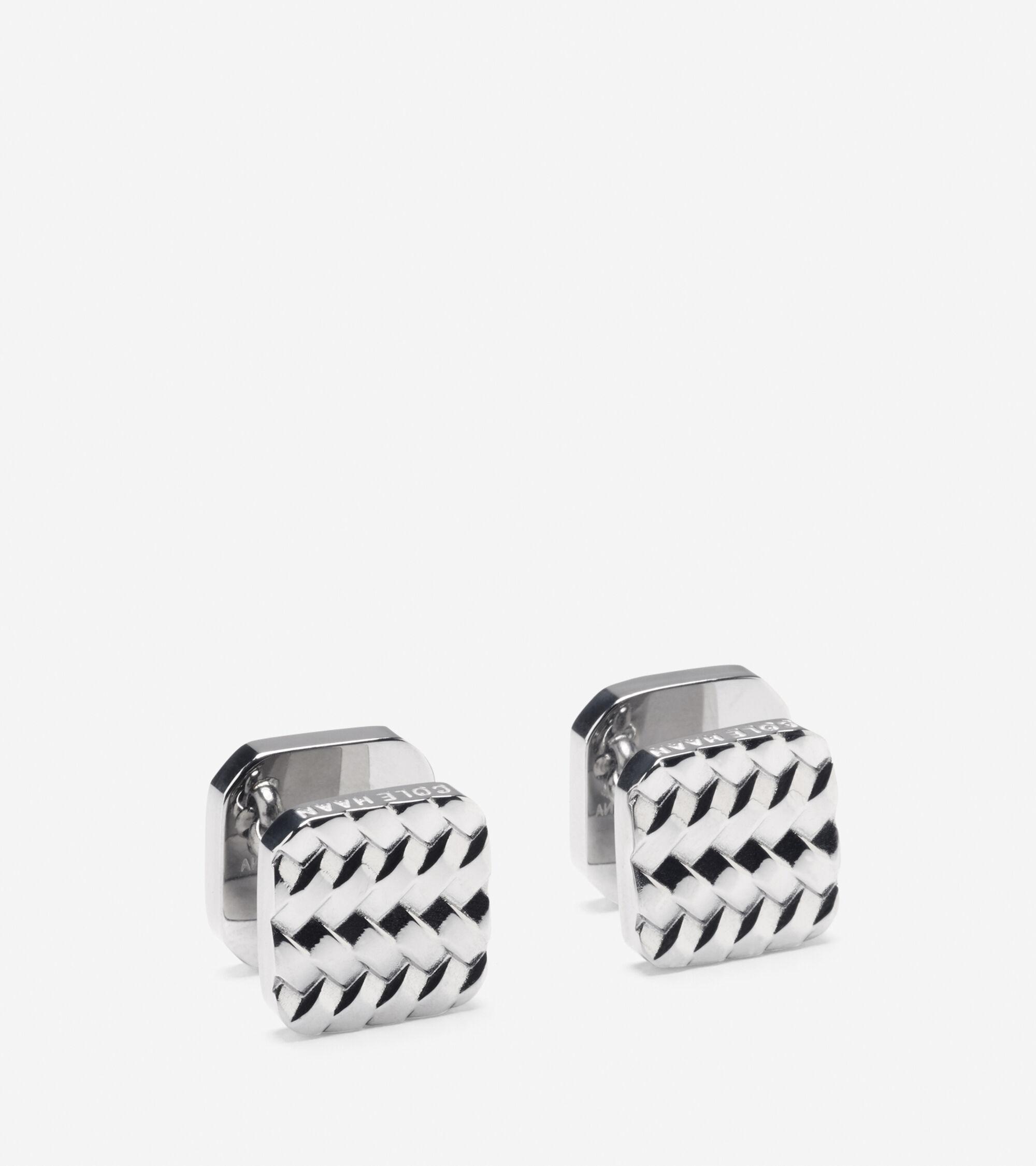 Accessories > Metal Basket Weave Cuff Links