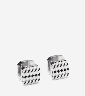 Metal Basket Weave Cuff Links