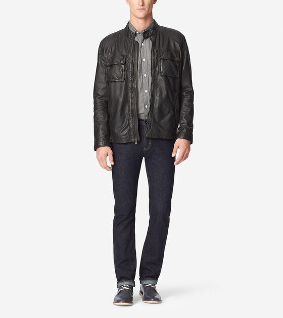 Outerwear > Washed Lamb Moto Jacket