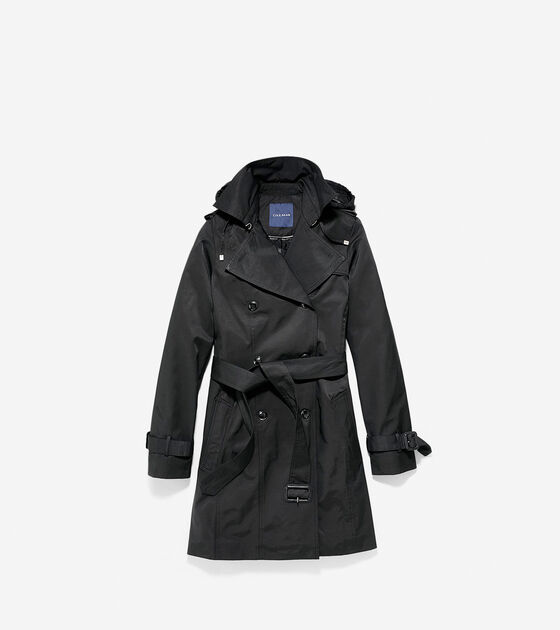 Outerwear > Cotton/Nylon Hooded Trench