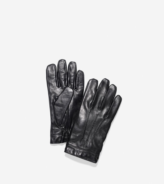 Accessories > Spliced Lambskin Leather Gloves