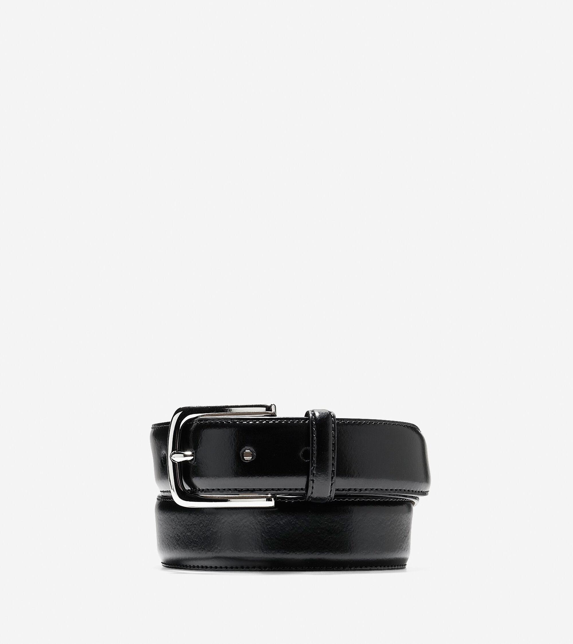 mens 32mm spazzolotto belt in black nickel cole haan