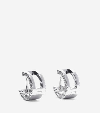 Signature Cut Out Basket Weave Huggie Earrings