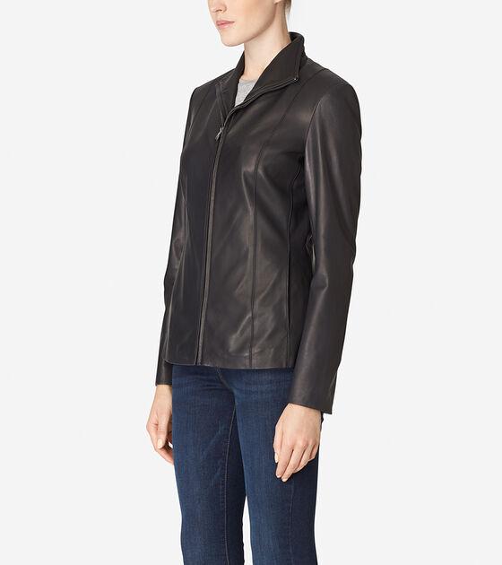 Italian Leather Wing Collar Jacket