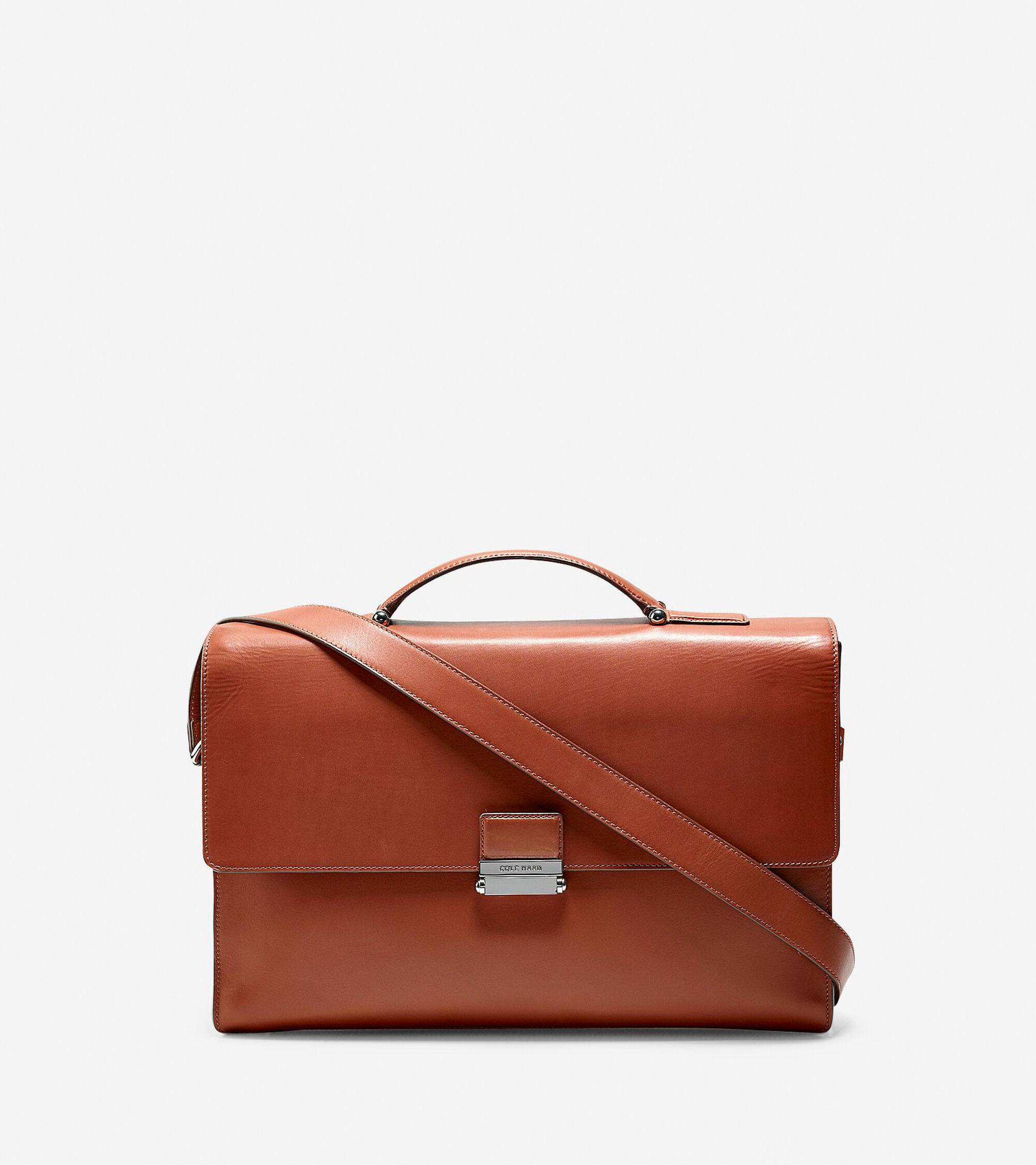 Men\'s Washington Grand Double Gusset Briefcase in Brown | Cole Haan