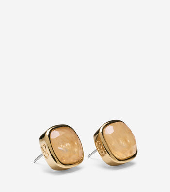 Cushion Cut Rutilated Quartz Stud Earrings