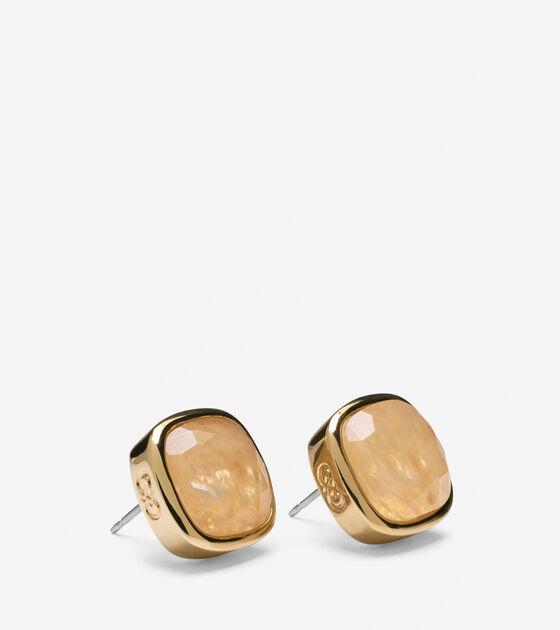 Cushion Cut Rutilated Quartz Stud Earrings