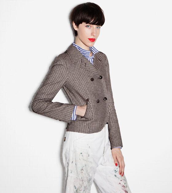 Outerwear > Plaid Wool Double Blazer
