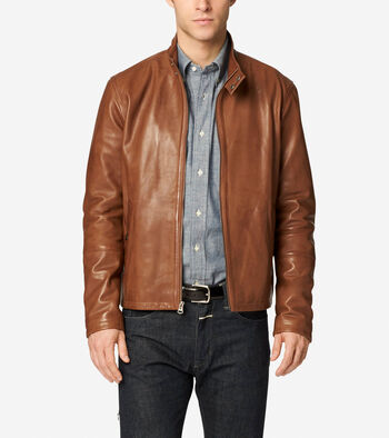 Burnished Lamb Leather Stand Collar Moto Jacket