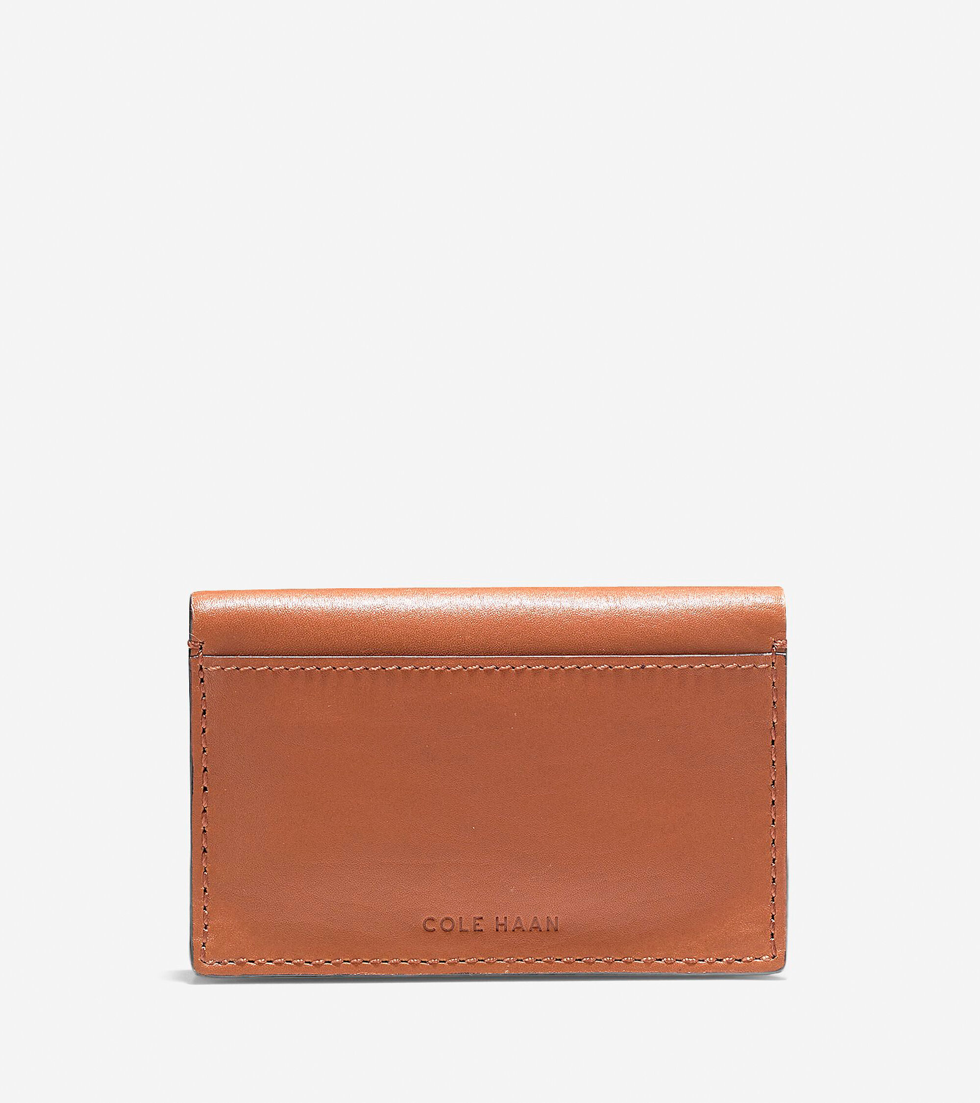 men s washington grand business card case in brown