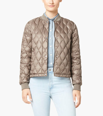Quilted Varsity Down Jacket
