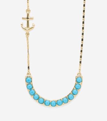 By The Sea Anchor Semi-Precious Stone U Necklace
