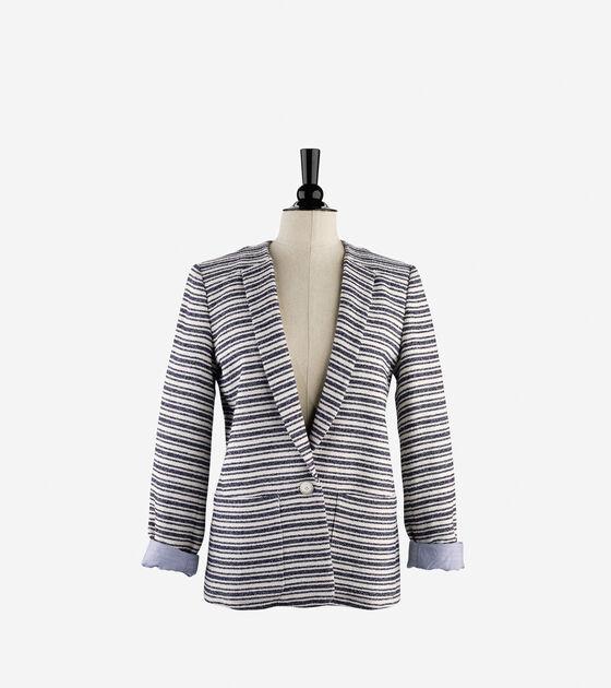 Outerwear > Striped Cotton Blazer