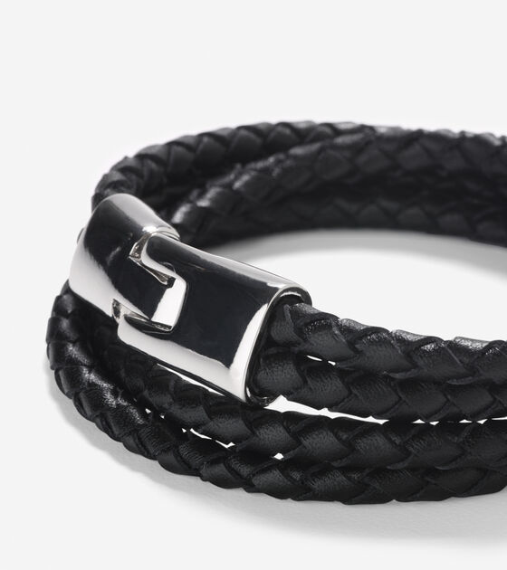 Braided Leather Strap Bracelet With Magnet Closure