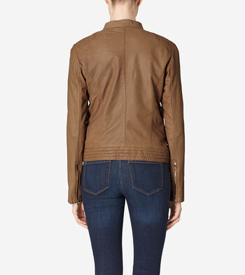 Asymmetrical Washed Leather Racer Jacket