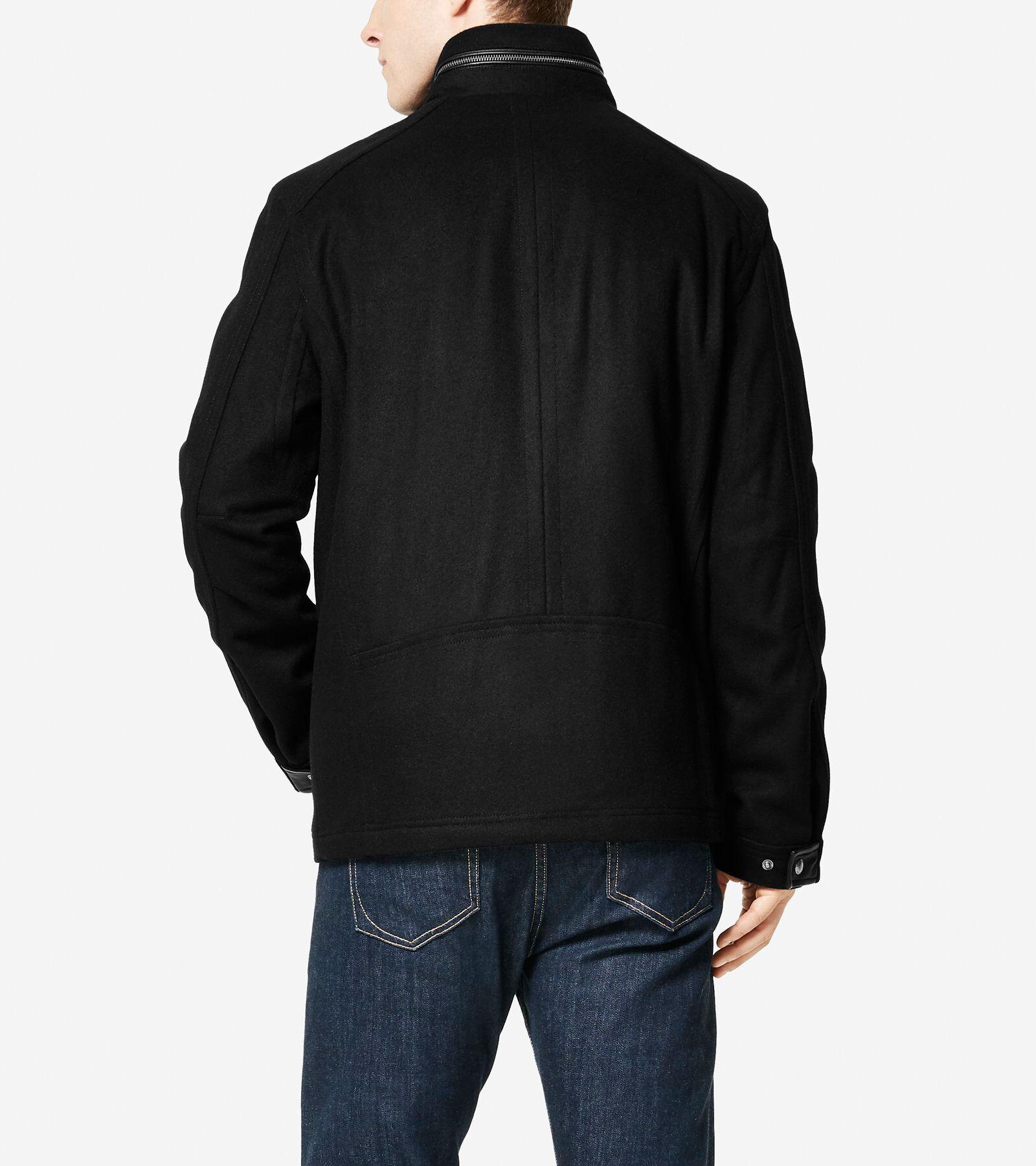 Black wool trucker jacket