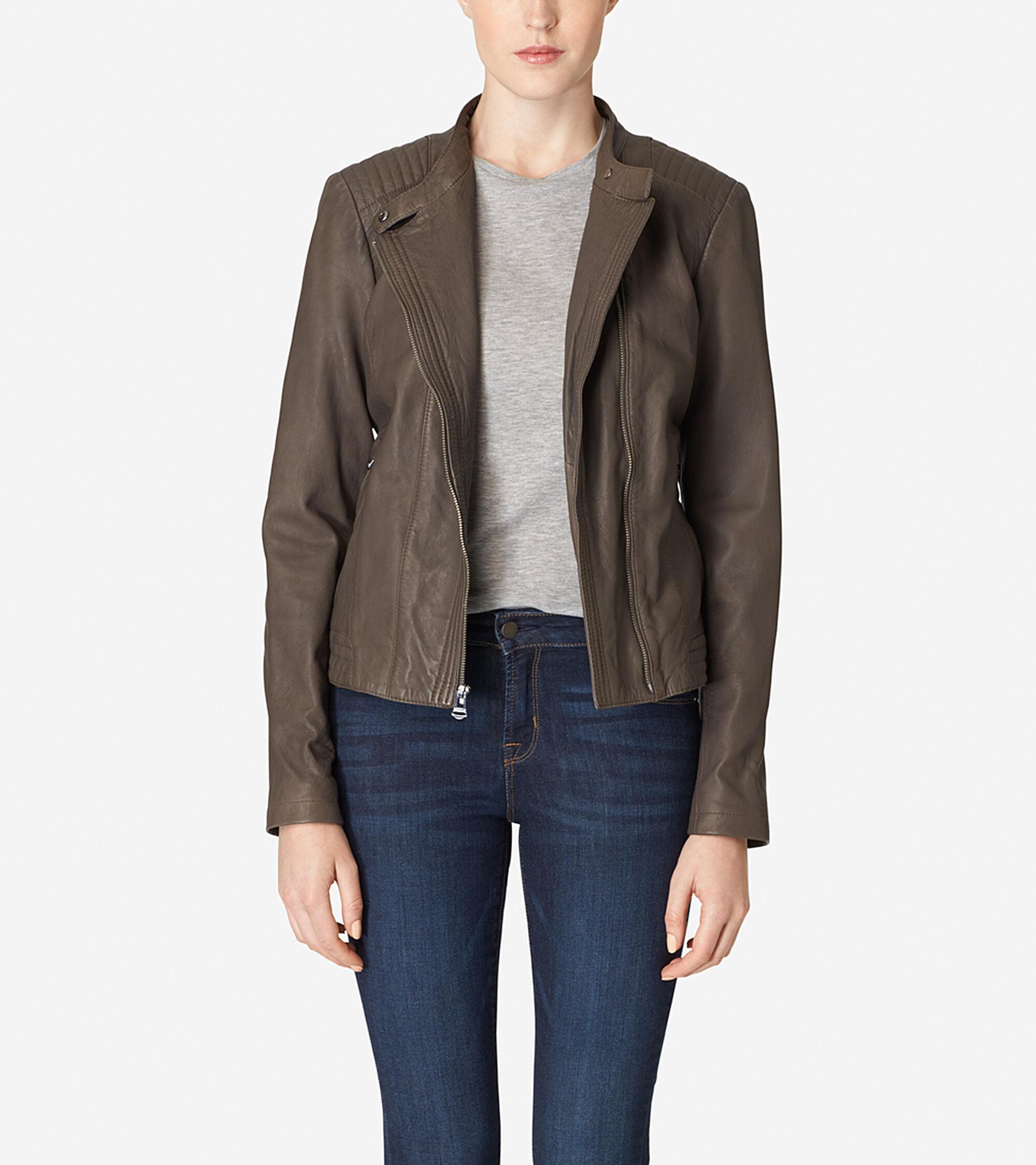 Classics > Asymmetrical Washed Leather Racer Jacket