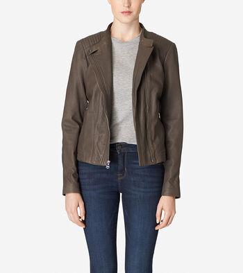 Asymmetrical Washed Leather Racer Jacket
