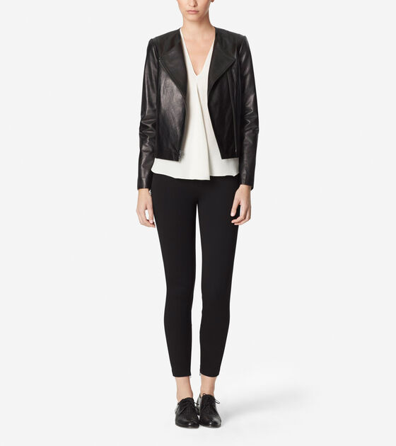 Outerwear > Collarless Assymetrical Leather Jacket