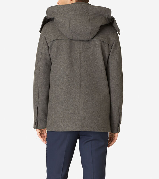 Hooded Water-Repellent Wool Topper