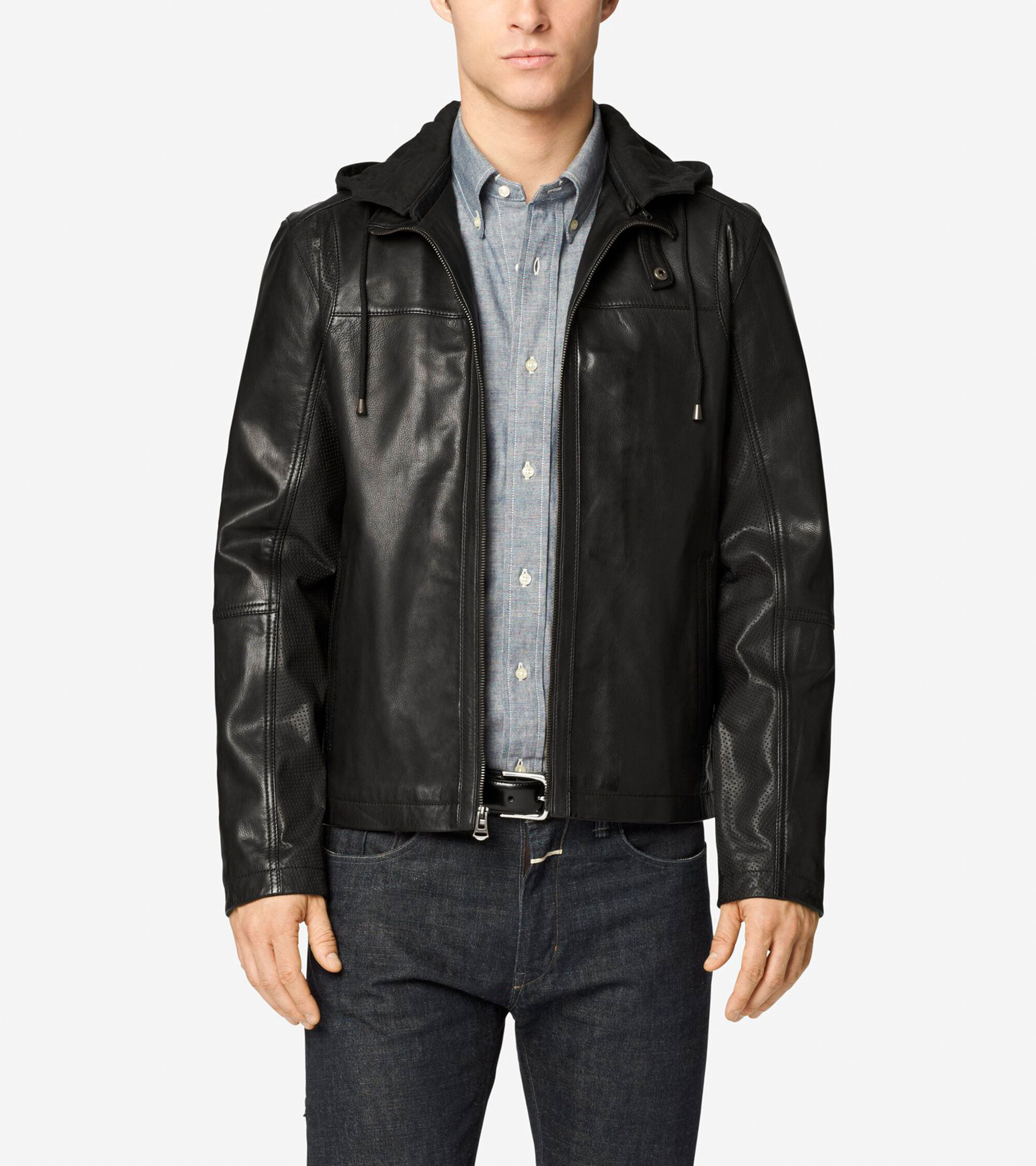 Outerwear > Washed Leather Hooded Moto Jacket
