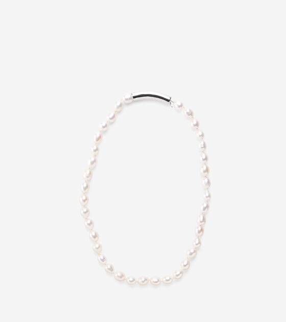 Accessories > Knotted Pearl & Metal Necklace