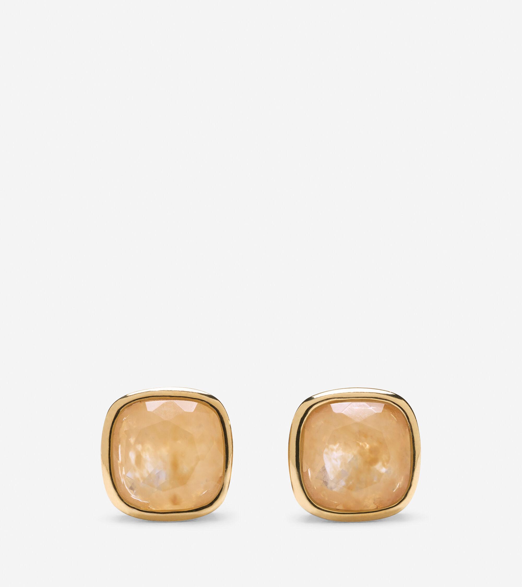 Accessories > Cushion Cut Rutilated Quartz Stud Earrings