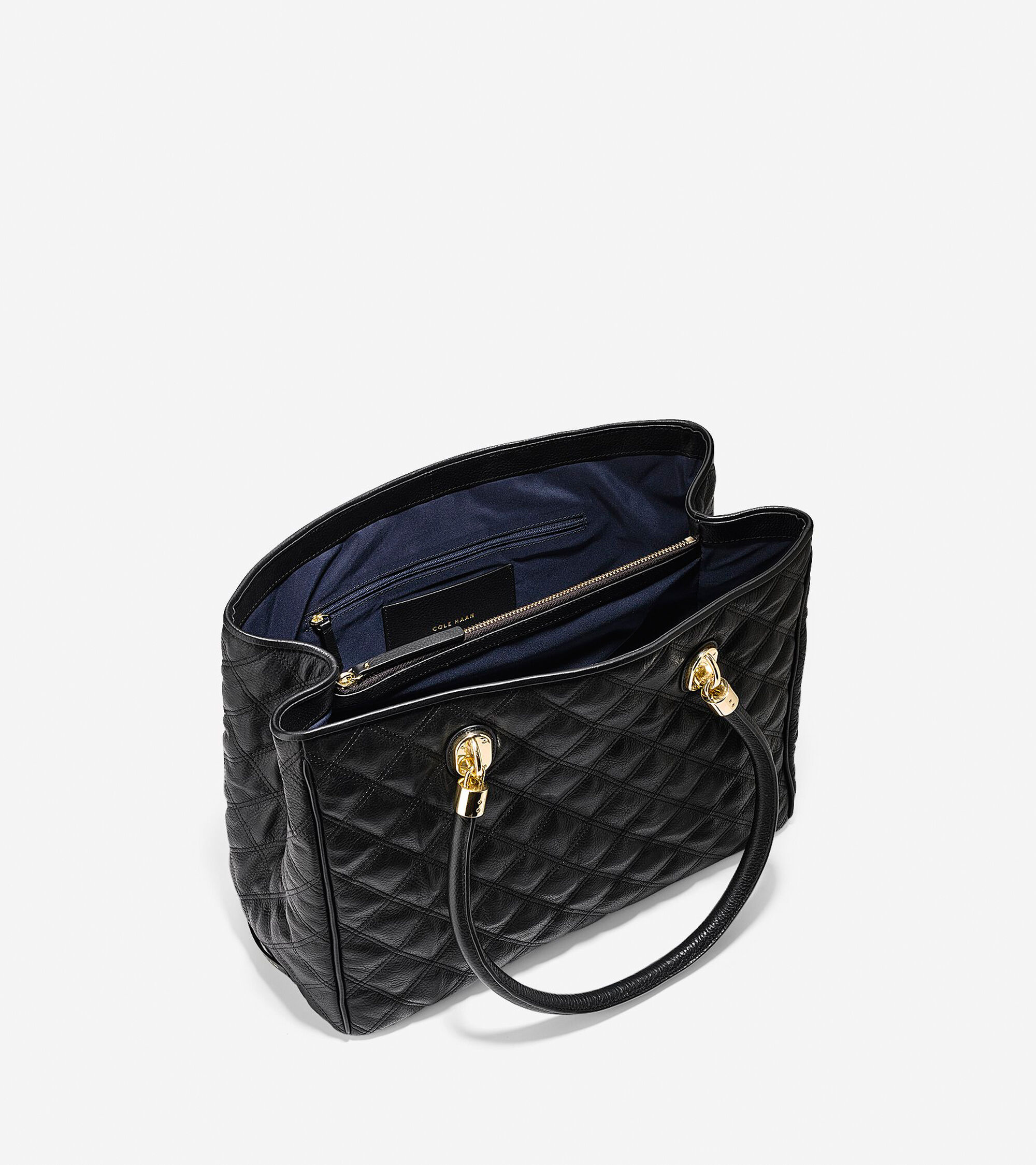 product michael quilted kors bags tote black large fulton by quilt lyst in