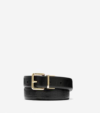 Reversible Croc Leather Belt