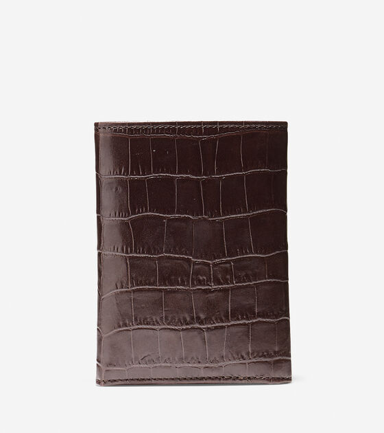 Embossed Croc Trifold Wallet