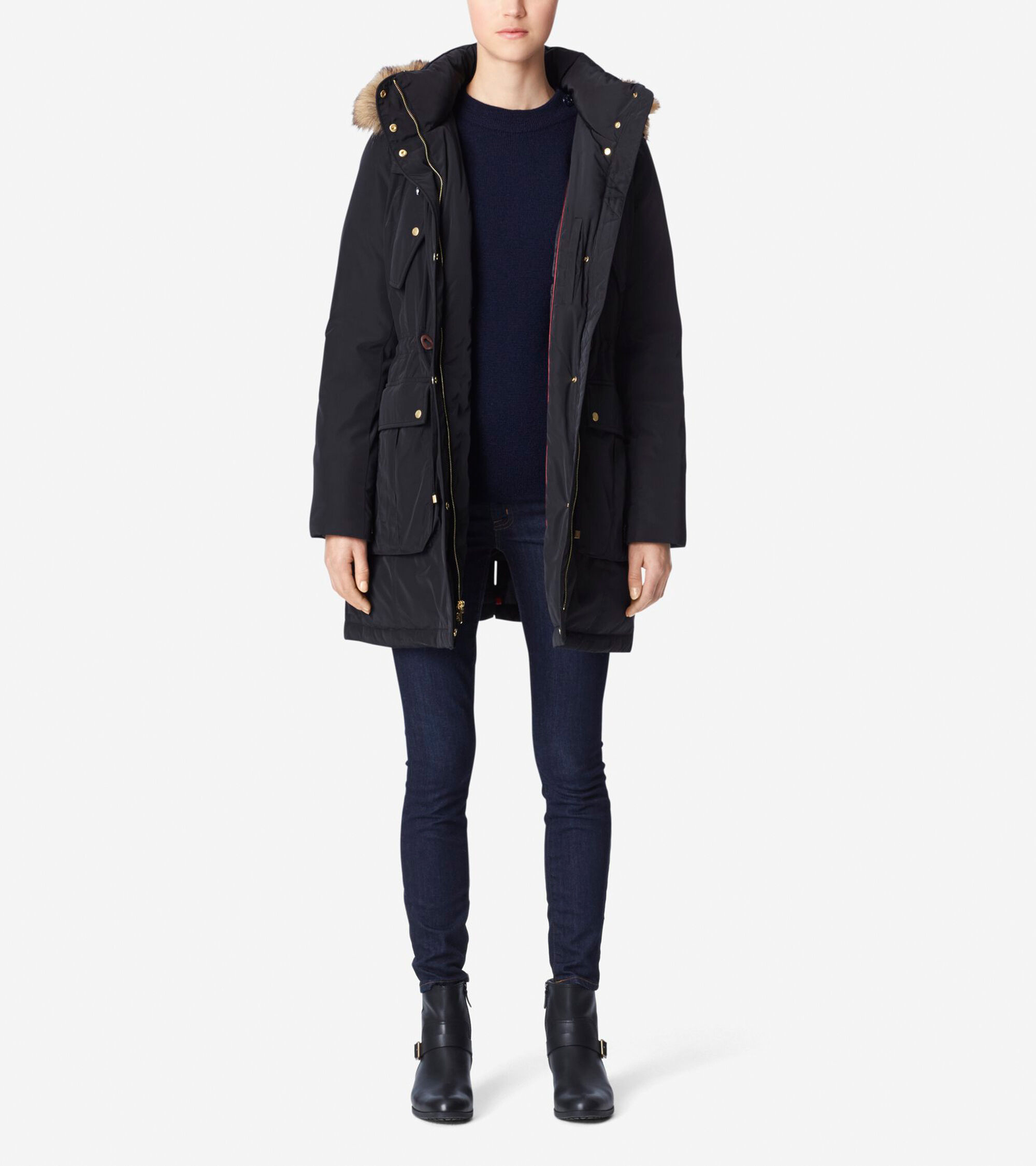 Outerwear > Taffeta Down Hooded Parka