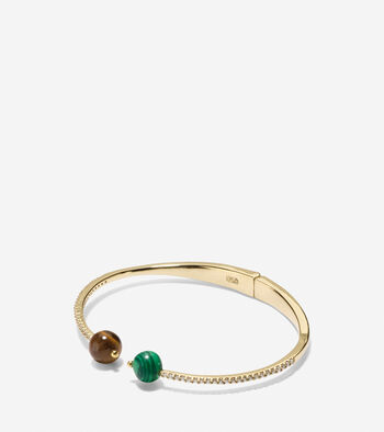 Spring Street Fashion Semi-Precious Stone Hinge Chain Bangle Bracelet