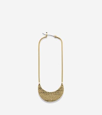 Signature Long Basket Weave Oval Hoop Earrings