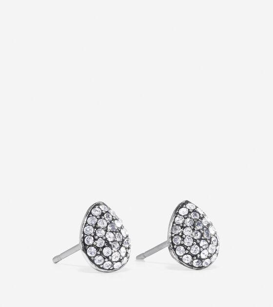 Waters Edge Small Swarovski Pave Teardrop Stud Earrings