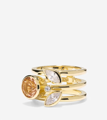Cocktail Hour Round CZ Stone Side Cluster Ring