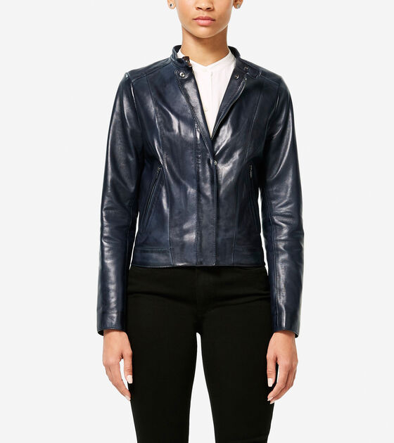 Outerwear > Burnished Lambskin Racer Jacket