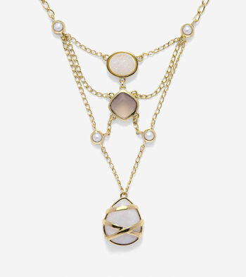 To The Moon Semi-Precious Open Stone Necklace